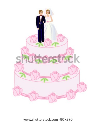 A bride and groom standing on the wedding cake