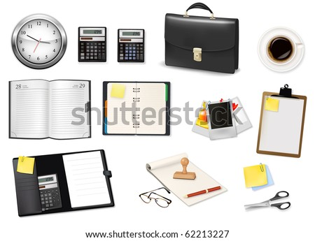 A briefcase, calculator, notebooks and some office and business supplies. Vector. - stock vector