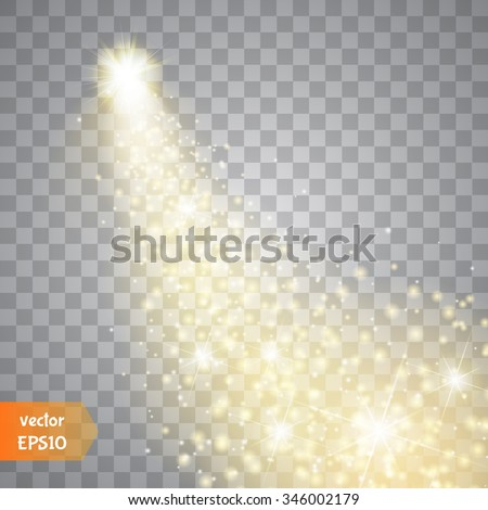 A bright comet with large dust. Falling Star. Glow light effect. Golden lights. Vector illustration - stock vector