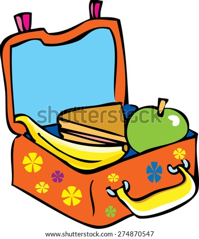 Bright Orange Cartoon Childrens Lunch Box Stock Vector ...