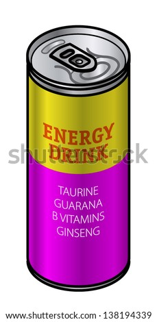 A brightly coloured can of energy drink with caffeine, guarana, taurine, b vitamins and ginseng.
