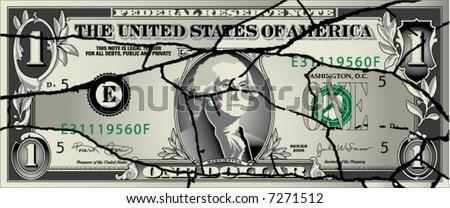 A broken dollar bill - stock vector