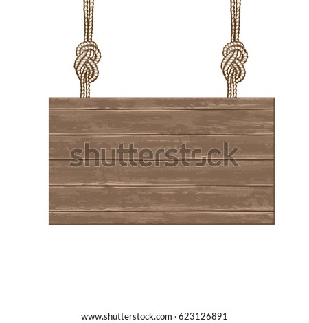 A brown wooden board for writing or advertising suspended hangs on a rope lanyard. Vector illustration.