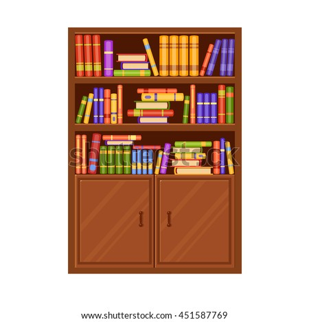 A brown wooden vector bookcase with many books on its shelves. Home  library. Love - Bookcase Stock Images, Royalty-Free Images & Vectors Shutterstock