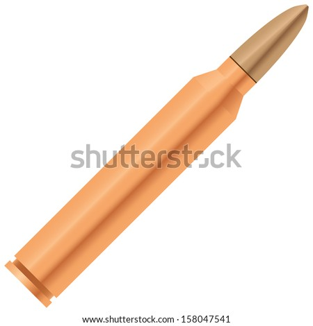 A bullet with a sleeve for the automatic weapons. Vector illustration. - stock vector