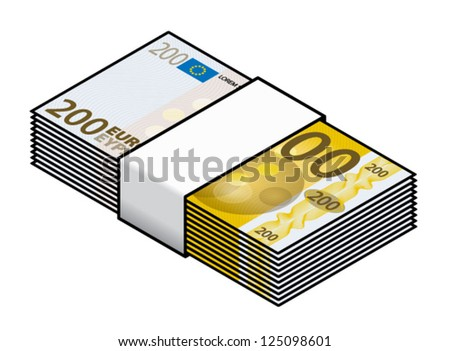 A bundle of colourful 200 Euro bank notes / paper money. - stock vector