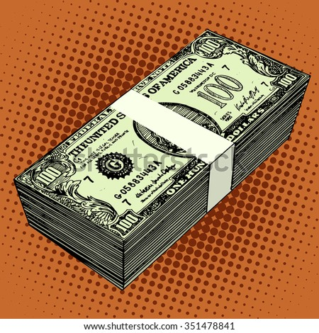 A bundle of hundred-dollar bills pop art retro style. The financial success of American currency - stock vector