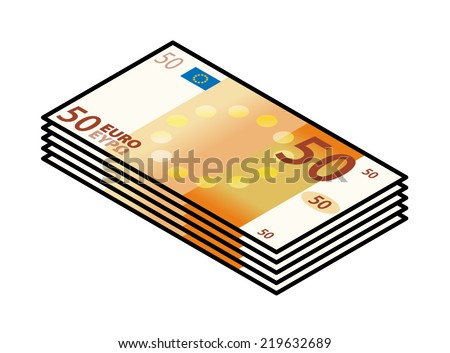A bundle of stylized iconic colourful 50 Euro bank notes / paper money.  - stock vector