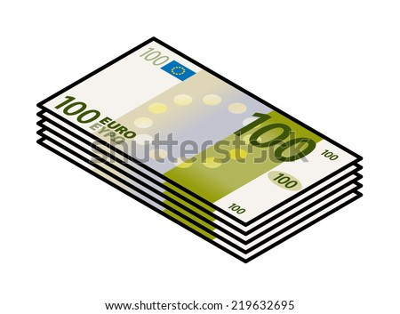 A bundle of stylized iconic colourful 100 Euro bank notes / paper money.  - stock vector