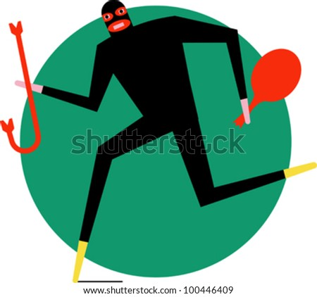 a burglar running holding a bag and a crowbar - stock vector