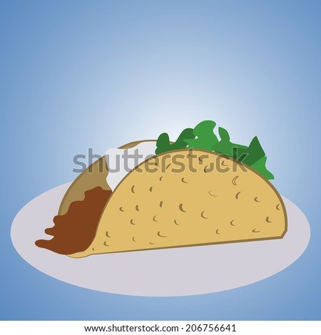 a burrito with filling on a blue background - stock vector