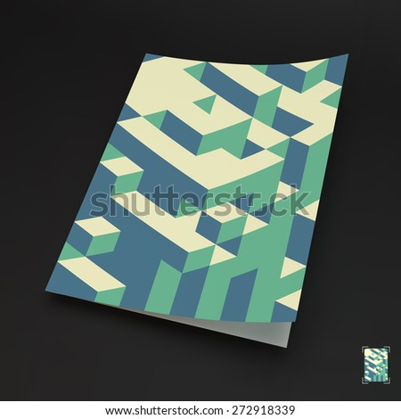 A4 business blank. 3d blocks structure background. Vector illustration. Can be used for advertising, marketing, presentation. - stock vector
