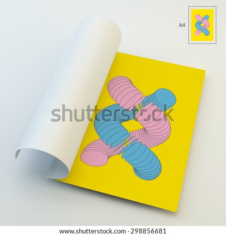A4 Business Blank. Vector Illustration Of Dna Structure In 3d. Can Be Used For Advertising, Marketing And Presentation. - stock vector