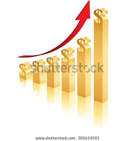 A Business Graph showing an increase in profits using 3D gold bars topped by a dollar symbol - stock vector