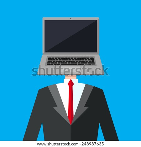 A business man in a suit with a computer instead of his head. Reference to android/super mind. Human computer, robot, genius person. - stock vector