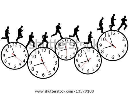 A business man runs in a hurry runs on time. Through the business day on a row of time clocks. Animation-like sequence of frames. - stock vector