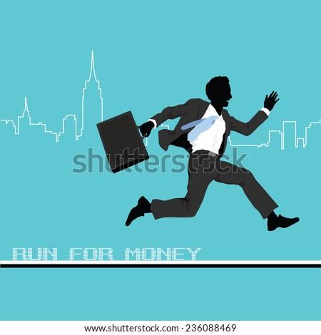 A business man runs to success. - stock vector