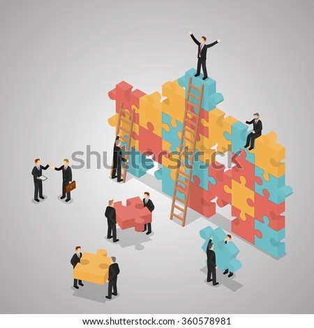 A business team building a puzzle jigsaw. Teamwork business concept. Isometric illustration vector. - stock vector