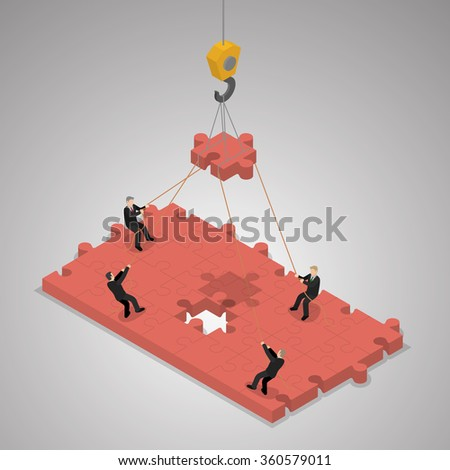 A business team building a puzzle jigsaw. Teamwork business concept. Isometric illustration vector.
