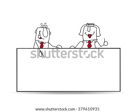 A businessman and a businesswoman are behind and a white placard. Write your message - stock vector