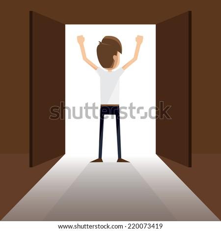 A businessman and an open door.vector - stock vector