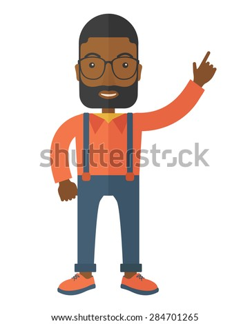 A businessman figure raises his arm up in gesture of success. A Contemporary style. Vector flat design illustration isolated white background. Vertical layout. - stock vector
