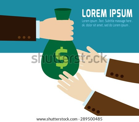 a businessman hand giving a money bag to another person template.modern flat design .isolated on blue and white background.graphic vector illustration.business concept. - stock vector