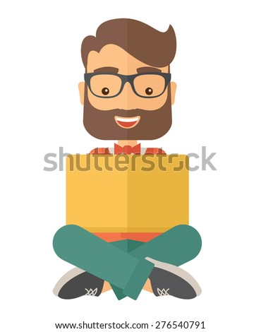 A Businessman having a great idea while reading a book. Business concept. A Contemporary style. Vector flat design illustration isolated white background. Vertical layout.