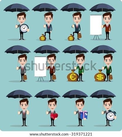 A businessman holding umbrella protecting his money to investments, money management. Saving money for any storm problem will come. Business concept. A contemporary style. Stock Vector illustration - stock vector