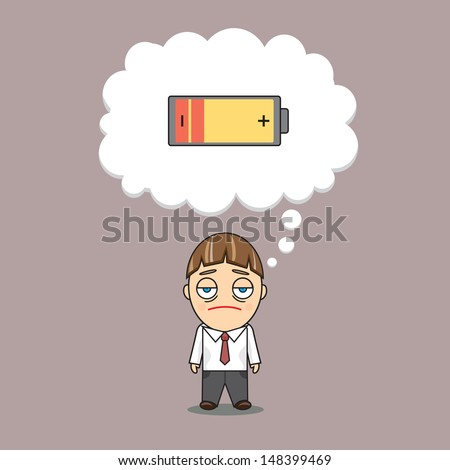 A businessman is low on energy - stock vector