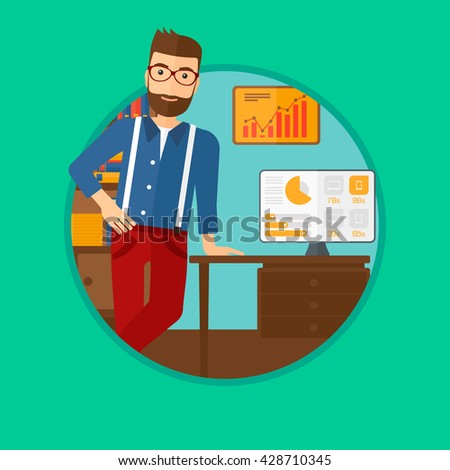 A businessman leaning on a table in the office during business presentation. Man giving a business presentation. Business presentation in progress. Vector flat design illustration in the circle. - stock vector