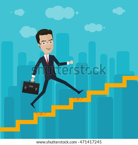 A businessman or manager rises through the ranks, Vector illustration in flat, cartoon style isolated from the background, EPS 10