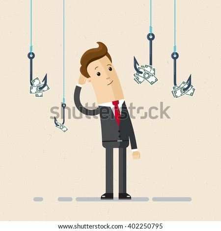 A businessman or manager selects one of  fishing hooks with money. Selection of jobs, careers, strategy. Flat, vector,  illustration. - stock vector