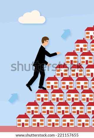 A businessman's increasing property portfolio. A metaphor on successful property finance. - stock vector
