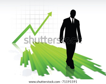 A businessman silhouette, walking on progressing green lines, on a statistic profit progress background, with light splash of paints on the ground. Vector illustration - stock vector