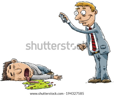 A businessman snaps a photo of another man who is passed out drunk. - stock vector