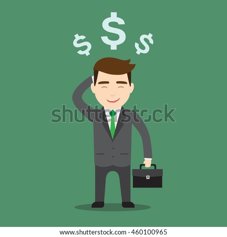 A businessman thinking in money. Vector illustration
