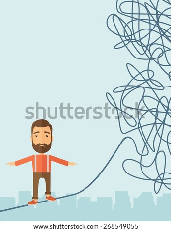 A Businessman walking on a long rope at risk but still very far to reach the goal. Determination concept. A Contemporary style with pastel palette, soft blue tinted background. Vector flat design - stock vector