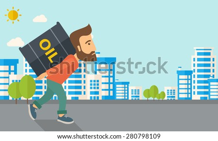 A businessman walking while carrying a heavy barrel of oil for delivery. A Contemporary style with pastel palette, soft blue tinted background with desaturated clouds. Vector flat design illustration - stock vector