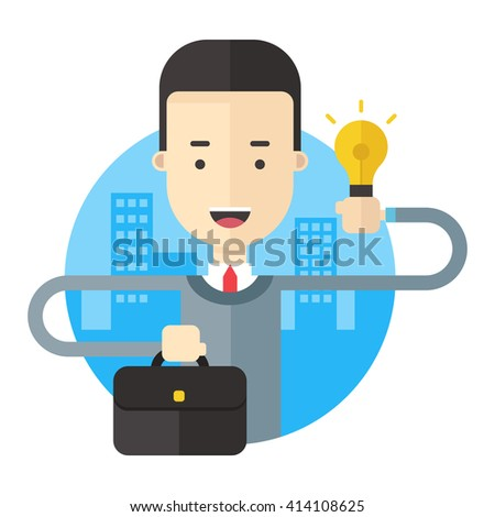 A businessman with a briefcase and a lightbulb symbolizing creative idea. Flat vector illustration - stock vector