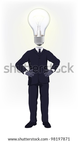 A businessman with a light bulb for a head. Conceptual illustration for a business man having a bright idea or doing smart business