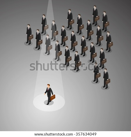 A businessman with different business concept walks away from others people to new innovation. - stock vector