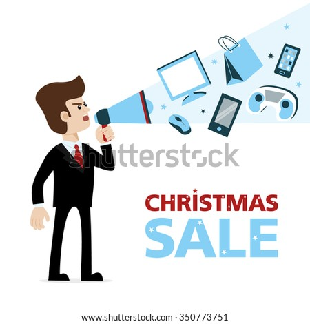A businessman with megaphone announcing Christmas sale of gadgets - smartphones, game console, computer mouse device, monitors etc. Vector art on isolated background. Illustration for advertising. - stock vector