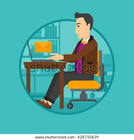 A businessman working on his laptop in office and receiving or sending email. Business technology, email concept. Business vector flat design illustration in the circle isolated on background. - stock vector