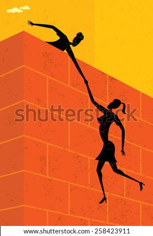 A businesswoman helping another businesswoman get over a large wall. The women & wall and background are on separate labeled layers. - stock vector
