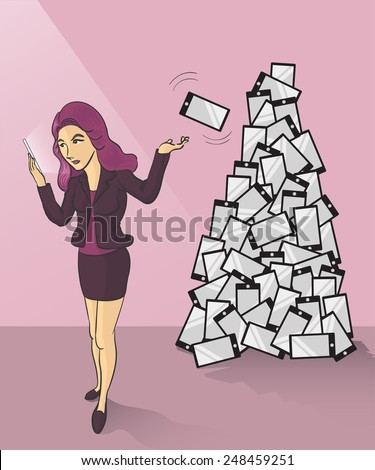 a businesswoman tossing her old smartphone to trash can - stock vector