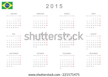A 2015 Calendar isolated on white background - stock vector