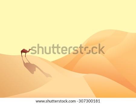 A camel and desert - stock vector