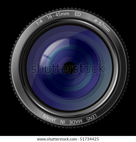 A camera lens vector illustration with realistic reflections on black background - stock vector