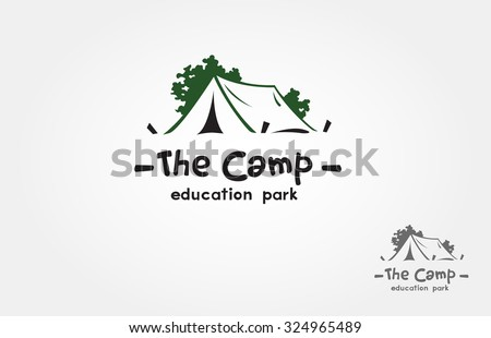 A camp logo design template vector for your design. it's good for symbolize of out door activity such a camping, hiking, picnic or it's also good for a recreation park logo.  - stock vector